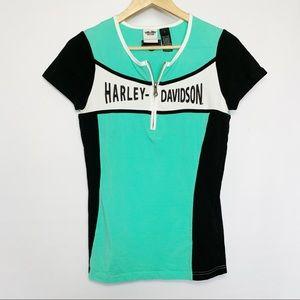 Harley Davidson Womens T-Shirt Black Green Zipper